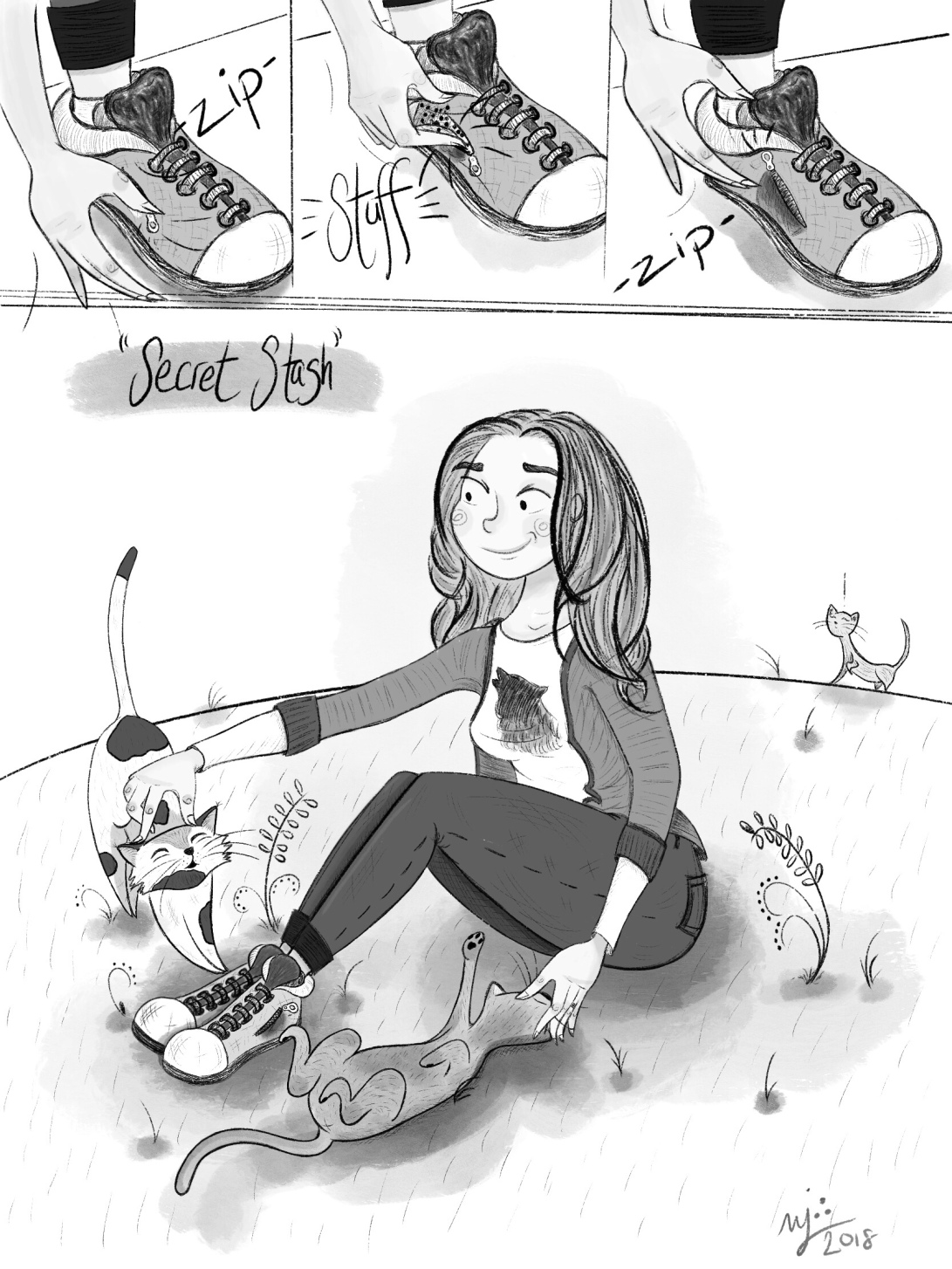 Rachel discovered the purpose of zippered pockets on shoes. Edit: I forgot to say that Rachel is the author of this comic! This was all her 🌟