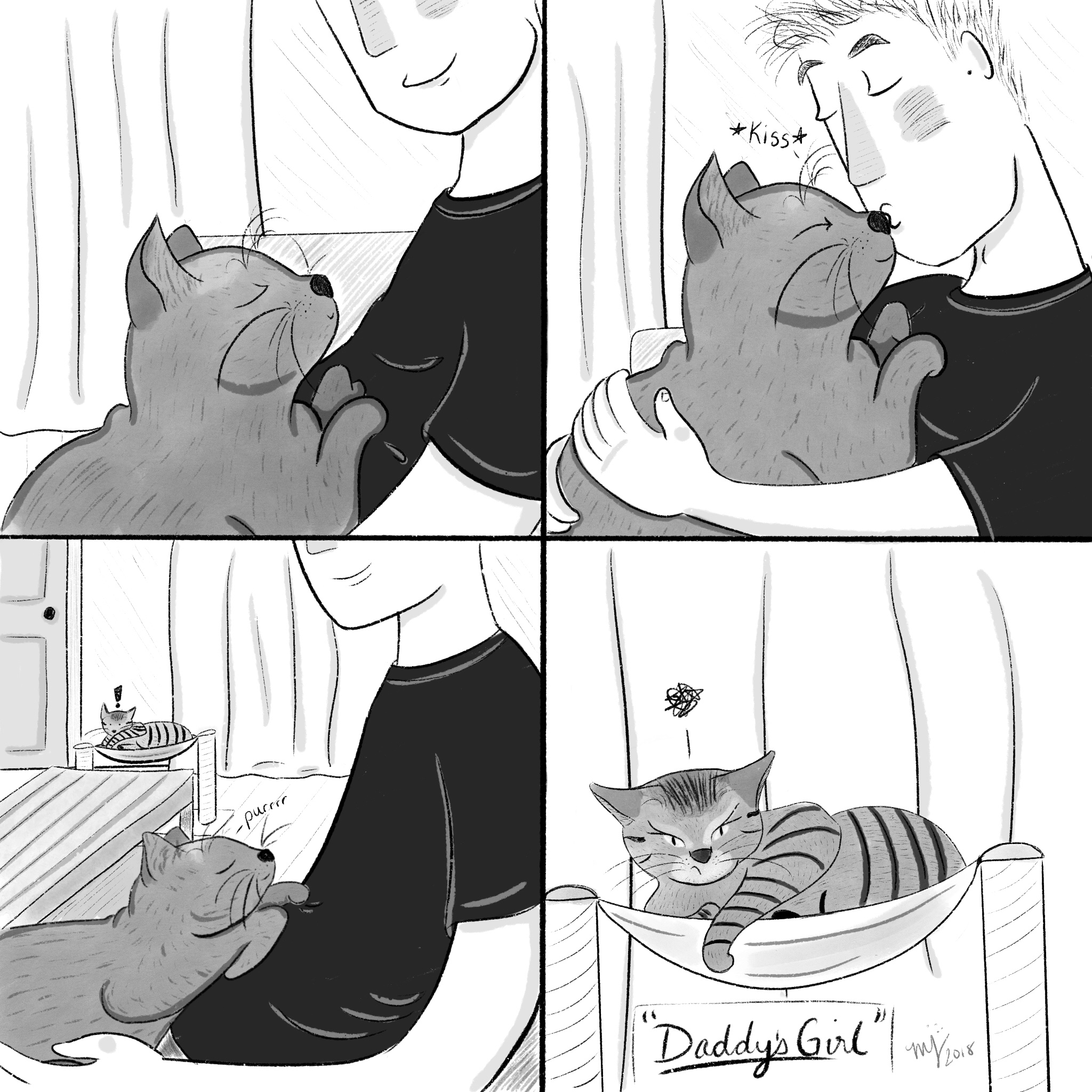The other night Morgan was being super sweet with Data, when usually he's only that way with Picard. In the middle of this adorable display I looked over and saw Picard, who was NOT pleased. This was super hard to draw and I felt discouraged the whole time. Cats are hard to draw. Profiles are hard to draw. Rooms at an angle are hard to draw 😱😱